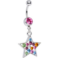 Pink MULTI Color JEWELED STAR Dangle Belly Ring | Body Candy Body Jewelry