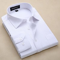 New Arrival Men's Clothes Long Sleeve Casual Shirts Men Shirt Turn-Down Collar Men Dress Shirts Solid Color Shirts For Men