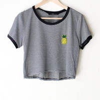 Pineapple Striped Crop Ringer Tee