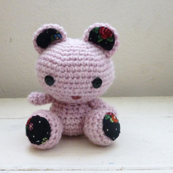 Pink teddy bear, crochet teddy bear, crochet amigurumi, teddy bear pink, handmade teddy bear, cute teddy bear, teddy bear art doll