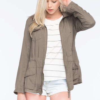 Ashley Hooded Womens Anorak Jacket Olive  In Sizes