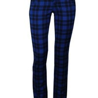 Jist Royal Blue Checked Skinny Jeans
