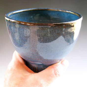 French Coffee Bowl in Denim Blue, Latte Mug, Café au Lait Bowl - Handmade Ceramics