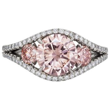 2.43 Carat Fancy Pink Diamond Platinum 3 Stone Ring
