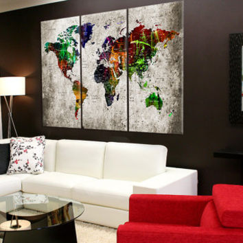 Large Push pin world map wall art canvas, push pin detailed world map, travel map canvas, textured world map with countries No:8S70
