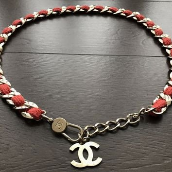CHANEL Runway Red Tweed Woven Gold Chain Belt. Rare.