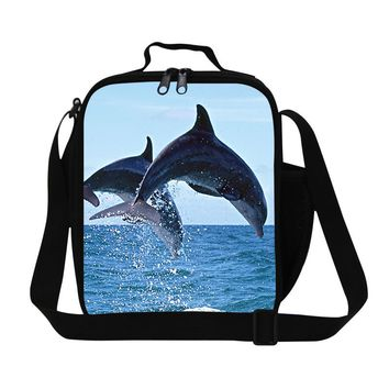 Hot Sale 3D Printing Whale Thermal Lunch Bag Kids Animals Picnic Food Bag School Student Lunch Box Messenger Shoulder Snacks Bag