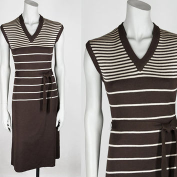 Vintage 70s Dress / 1970s Brown Stripe Wool Angora Sleeveless Sweater Dress S M