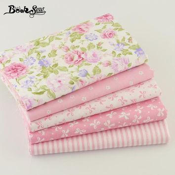 Booksew 100% Cotton Fabric 5pcs 40cm*50cm Pink  For Sewing Fat Quarter Quilting Patchwork Tissue Doll Cloth Kids Bedding Textile