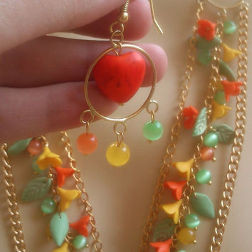 Colorful jewelry - Charm necklace and earrings - Handmade necklace and earrings