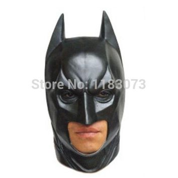 CREYHY3 High Quality Black Batman Latex Full Face Mask Adult Superhero Bruce Wayne Masquerade Party Props Costume Cosplay Rubber Masks