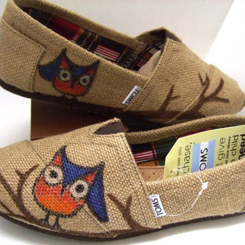 Custom painted OWL Burlap TOMS Shoes