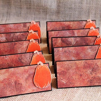 Autumn Pumpkin Place Cards, Set of 10 Handmade Tent Cards, Thanksgiving, Fall Dinners, Table Decoration, Dinner Party, Table Top Decor