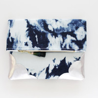 MARBLED 13 / Bleached denim cotton & Natural leather fold over clutch bag wih leather tassel - Ready to Ship