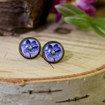 Blue Flower Stud Earrings | Flower  Earrings | Antique Bronze Earrings | Stud Earrings | Flower Jewelry | Personalized Jewelry