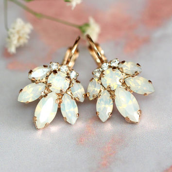 Bridal Opal Earrings, Crystal Drop Opal Earrings, Bridal Cluster Earrings, Drop Earrings, Swarovski Opal Earrings,Bridesmaids Earrings