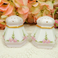 Vienna Austria Porcelain Salt & Pepper Shakers Hand Painted Pink Flowers Gold