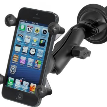 Ram Mount Twist Lock Suction Cup Mount with Universal X-Grip Cell Phone Holder,