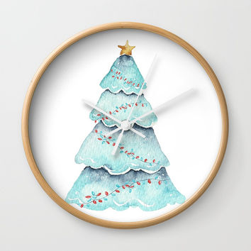 christmas tree Wall Clock by Sylvia Cook Photography
