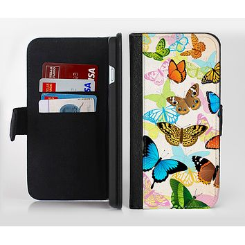 The Colorful Vector Butterflies Ink-Fuzed Leather Folding Wallet Credit-Card Case for the Apple iPhone 6/6s, 6/6s Plus, 5/5s and 5c