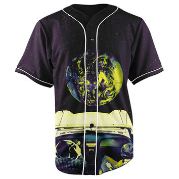 Driving To The Moon Button Up Baseball Jersey