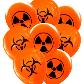 Halloween Party Balloons: Biohazard and Radioactive Symbols -Pack of 8 | Science Party Decorations Mad Scientist Chemist Zombie