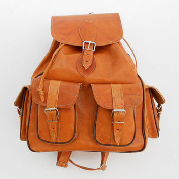 Caramel Orange Leather Backpack Medium satchel bag Handmade Soft Leather School College Travel Picnic Weekend bag
