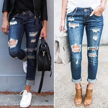 Women Cuffed Skinny Jeans Low Rise Stretch Ripped Blue Denim Long Pants