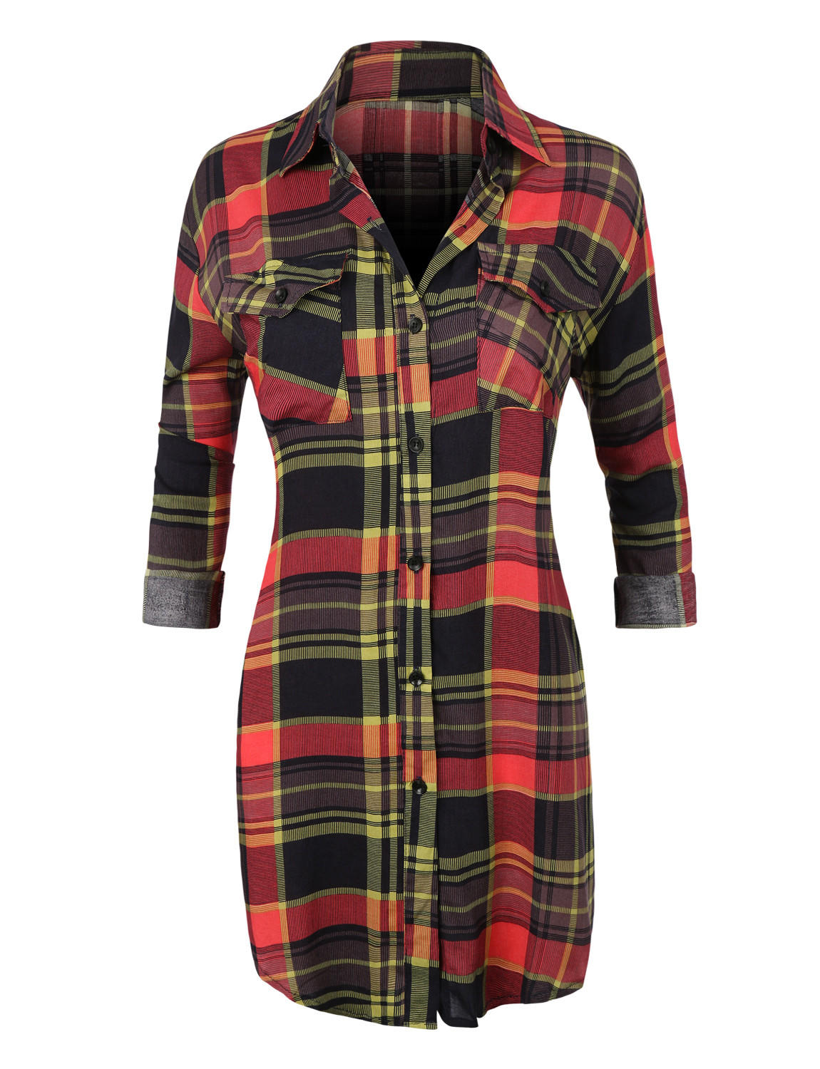 Le3no womens casual plaid button down from le3no things for Plaid button down shirts for women