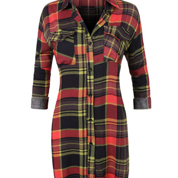 LE3NO Womens Casual Plaid Button Down Shirt with Roll Up Sleeves (CLEARANCE)
