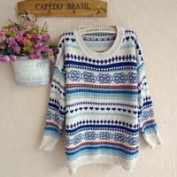 Wild retro round neck pullover sweater BBBBD