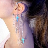 Ear cuff with draped chains and crosses by Anni