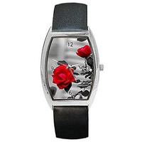 Artistic Red Rose on Black and White on a Womens Barrel Watch with Leather Band