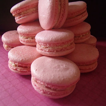 Macarons Macaroons French Italian Almond Cookies Strawberry with Buttercream or Jam 12 pc Gluten free