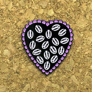 Heart Filled with Faces Enamel Pin (B Graded)