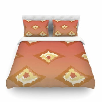 "Alison Coxon ""Coral Ombre Ikat"" Orange Yellow Featherweight Duvet Cover"