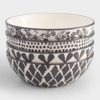 Charcoal and Ivory Alvaro Bowls Set of 4