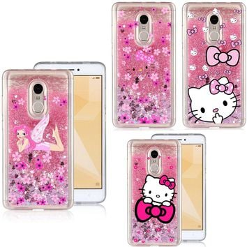 Liquid Water Phone Case For Xiaomi Redmi Note 3/Note 4/Note 4X/Note 5A Cartoon Hello Kitty Sparkle Glitter Stars TPU Cover