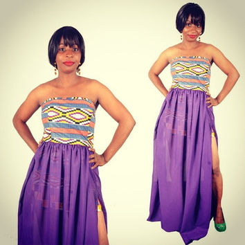 XMAS SALE - Strapless African Prints with Chiffon fabric Dress - Kente Dress