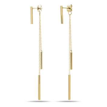 925 Sterling Silver Threader Earrings, 14K Gold Plated Long Drop Bar Earrings, Bar Chain Earrings