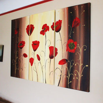 Red Poppy Painting, Large Poppy Art, Huge Canvas Art, Painting on Canvas