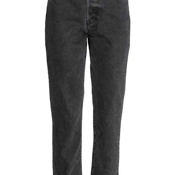Vintage High Cropped Jeans - Gris oscuro - MUJER | H&M ES