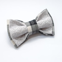Embroidered bow tie Burberry gray pretied bow tie Groomsmen bow ties Men's bowtie Gifts for dad Taupe Casual style Bowties in burberry