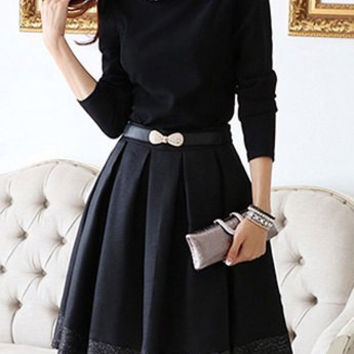 Flat Collar Long Sleeve Pleated Dress with Belt