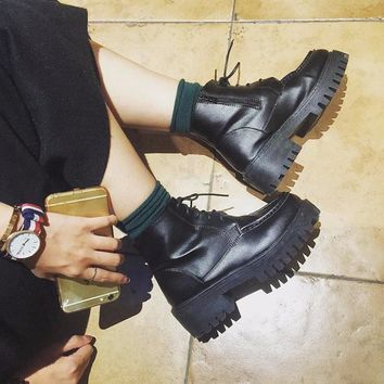 On Sale Hot Deal Waterproof Thick Crust Dr. Martens Korean Stylish Boots [11791886223]
