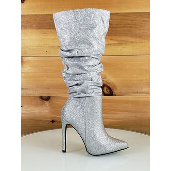 So Me Bella Silver Glitter Slouchy Pointy Toe High Heel Knee Boot