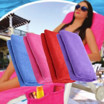 Recliner Cover Beach Towel Bag Sun Lounger Cover Beach Mat Bath Towel Garden Lounge Zipper Quick-Drying Towel Yoga Mat 75x210CM