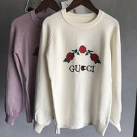 ONETOW GUCCI  Knitted and embroidered rabbit fur thermal sweater