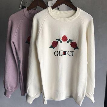 DCCKUN3 GUCCI  Knitted and embroidered rabbit fur thermal sweater