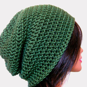 Green Slouchy Beanie Crochet Hipster Mens Oversize Womens Slouch Beanie